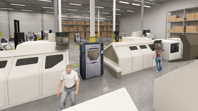 Additive manufacturing systems integrated on the shop floor in Stratasys' Factory of the Future vision. (Image courtesy of Stratasys.)