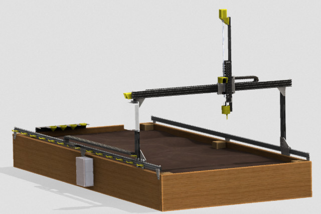 The FarmBot Genesis, shown in this rendering, is an open-source CNC farming machine that may revolutionize the agriculture industry. (Image courtesy of FarmBot).