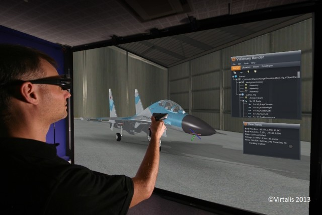 Visionary Render software user experiencing a real-time, interactive and immersive VR environment made from massive amounts of 3D model data. (Image courtesy of Virtalis.)