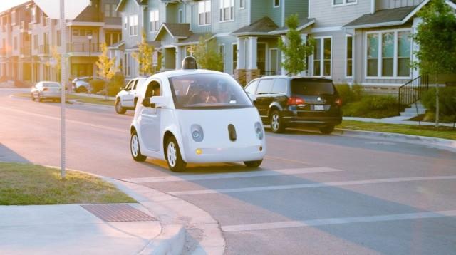 A prototype Waymo vehicle driving itself on a public street. (Image courtesy of Waymo.)