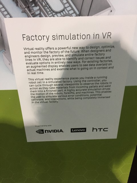 Each HTC/Autodesk station had copy explaining what to expect from each virtual experience.