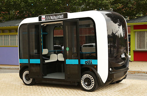 The IMTS Ride Experience offers show visitors a ride in Olli, a self-driving vehicle from Local Motors featuring IBM Watson, which enables riders to ask the vehicle questions in a normal human voice. (Image courtesy of AMT.)
