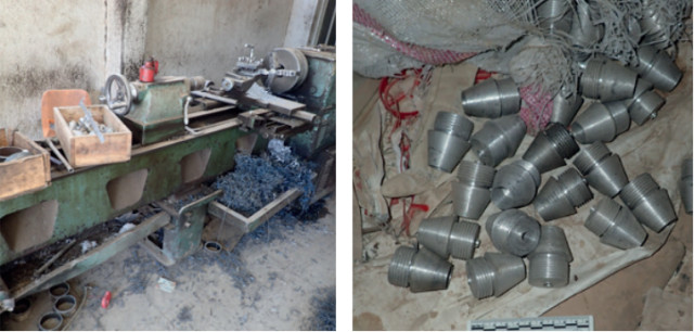 Lathe in an ISIS workshop (left) and lathe-produced detonating fuses (right). (Image courtesy of Conflict Armament Research.)