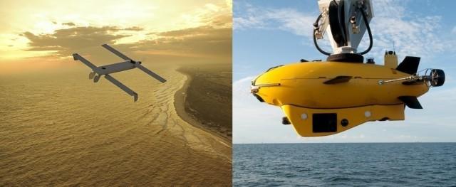The Vector Hawk UAV (left) and Marlin MK2 AUV (right). (Image courtesy of Lockheed Martin.)