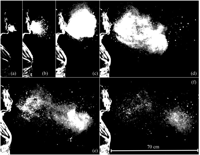 This sequence illustrates the evolution of the multiphase turbulence cloud that suspends droplets emitted during a sneeze. Shown here are times ranging from 7 to 340 milliseconds post sneeze onset. (Image courtesy of B. E. Scharfman/A. H. Techet/J. W. M. Bush/L. Bourouiba/MIT.)