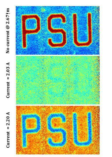 Infrared image of metadevice composed of vanadium dioxide with gold patterned mesh. (Top) Device without any electric current showing the PSU cut from the pattern and reflective. (Middle) Device with 2.03 amps of current. The PSU and background now appear the same, the PSU has faded into the background. (Bottom) Device with 2.20 amps of current. The background is now reflective while the PSU is not. (Image courtesy of Douglas Werner/Penn State.)