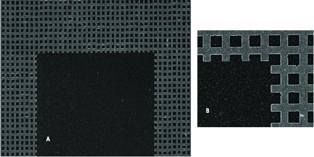 Scanning electron microscope image of gold patterned mesh used in metadevice. (A) is the top portion of the U cutout. (B) is a magnified look at the mesh from the same area. (Image courtesy of Douglas Werner/Penn State.)