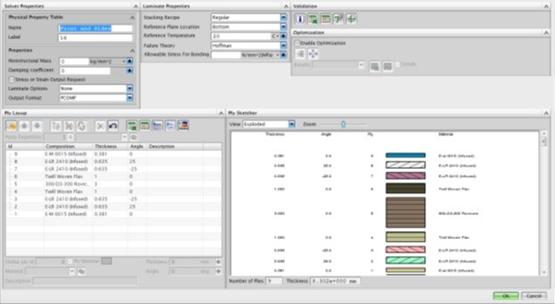 NX Laminate Composites modeller interface. Image courtesy of Siemens PLM Software.