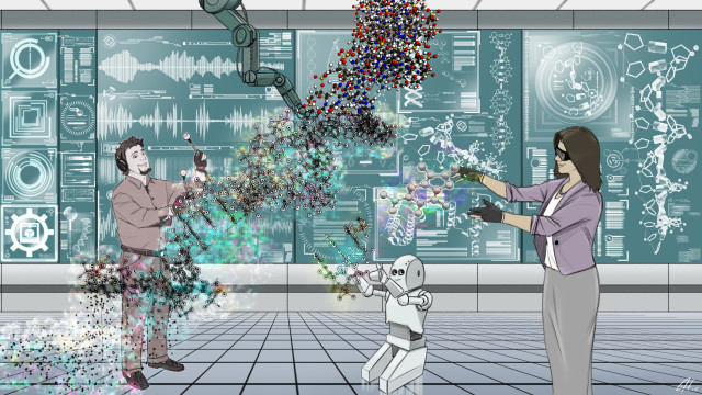 Imagine a Biochemist working with a social robot, collaborating to create new forms of synthetic life. Robotic arms print a DNA helix While a remote musician plays scales on the emerging base-pair xylophone, adding transdisciplinary perspective to the evolution of future life. (Image courtesy of NYU-X Lab.)