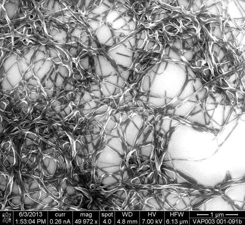 An organic nanofiber net. (Image courtesy of Vaporsens.)