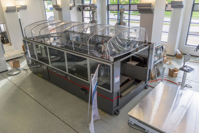 The massive BAAM machine from Cincinnati Inc. at the new National Harbor facility. (Image courtesy of Local Motors.)