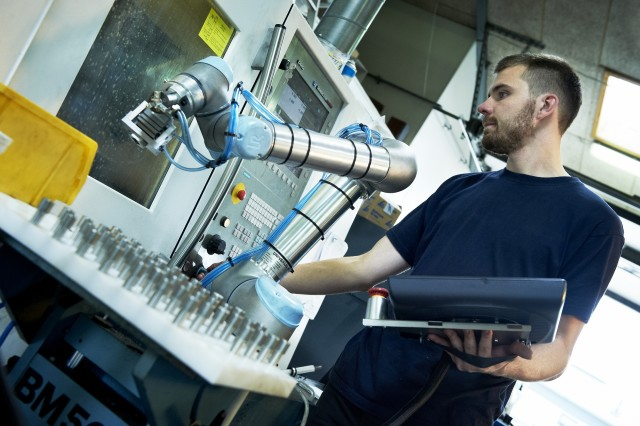Robotic arms, like those from Universal Robots, are designed for fast integration into modern manufacturing facilities.