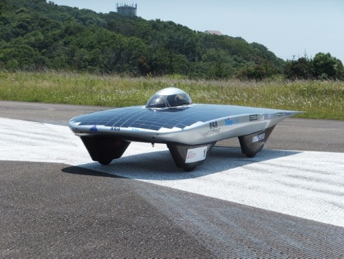 The OSU-Model-S Solar Powered Car, fueled 565 Interdigitated Back Contact silicon solar cells.