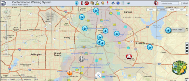 A real-time water quality evaluation system is displayed for Dallas. The water droplet symbols are water quality monitoring stations. (Image courtesy of CH2M Hill.)