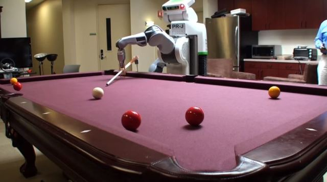 The PR2 research robot from WillowGarage played pool to advance research in vision systems. (Source)