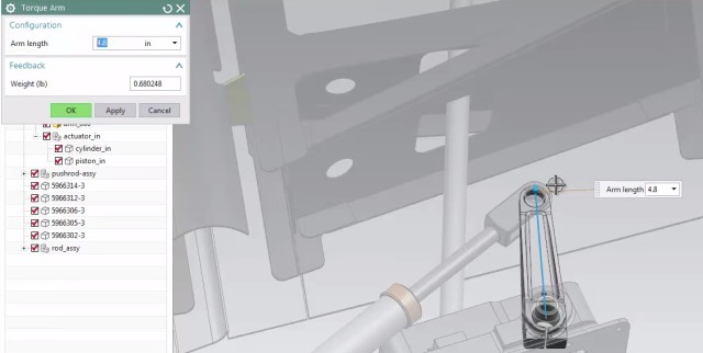 Template used to modify the arm length of a part and automatically update the remainder of the part. However, as the user still has access to Siemens NX, they still have quite a lot of control over the analysis. (Image courtesy of Siemens PLM Software.)
