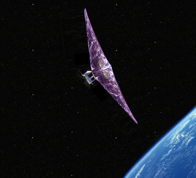 Concept for the Aerodynamic Deorbit Experiment testing a drag sail prototype for deorbiting satellites. (Image courtesy of Purdue University.)
