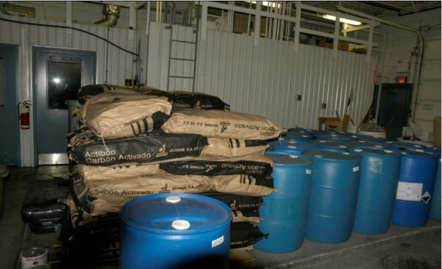 Approximately one month's supply of chemicals for the water treatment plant at Saddle Lake. (Image courtesy of the Safe Drinking Water Foundation.)