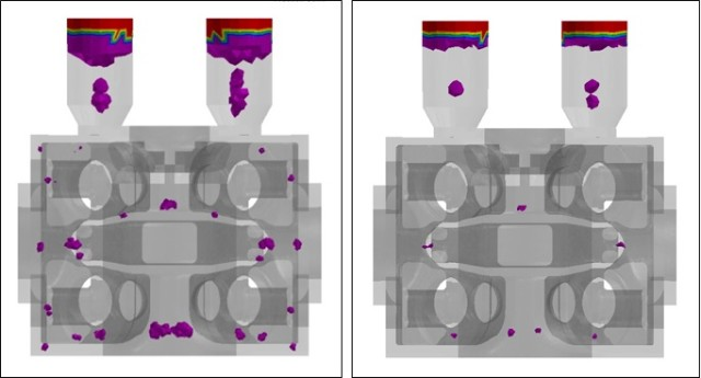 Gas compressor part with shrinkage porosity prediction in ESI ProCAST (left). These results showed that the casting process need to decrease the delay between ladle inoculation and pouring. Resulting part (right) has reduced shrinkage porosity.