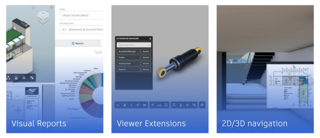 Autodesk has created three examples to demonstrate the applications possible with the Forge Platform. (Image courtesy of Autodesk.)