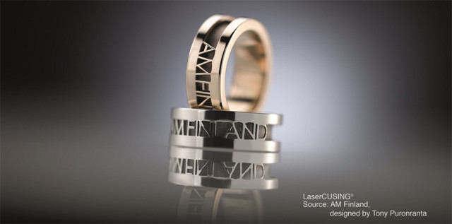 3D-printed rings made from silver and gold precious metal alloys. (Image courtesy of Concept Laser.)