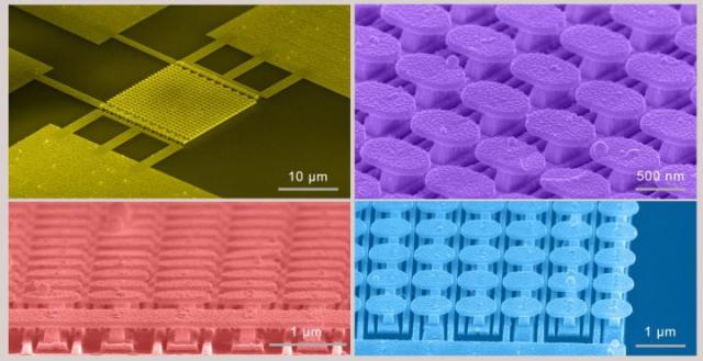 These are scanning electron micrograph images of the semiconductor-free microelectronic device (top left) and the gold metasurface (top right, bottom). (Image courtesy of UC San Diego Applied Electromagnetics Group.)