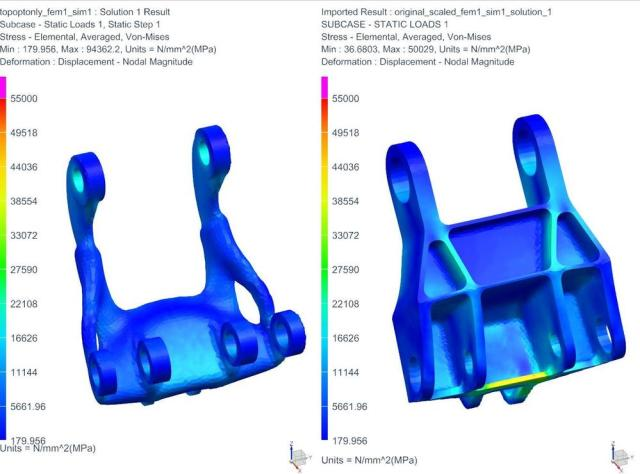 The stress of a topology optimized part is compared to a traditionally designed part. (Image courtesy of Siemens.)