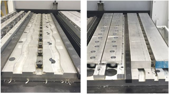 Left: Pallet ready to receive raw aluminum bars for op. 1 // Right: Mitee-Bite expansion clamps are positioned between two sections of the pallet for op. 2 on the left side and two more raw bars for op. 1 on the right. (Image courtesy INOVA)