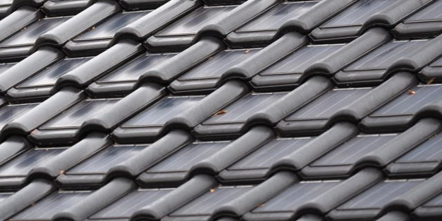 ZEP B.V.'s solar roof tiles after installation. The company is also developing a red version. (Image courtesy of ZEP B.V.)