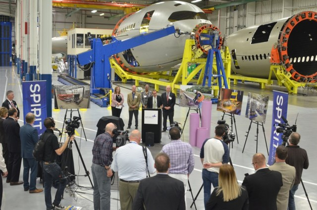 Spirit AeroSystems CEO Tom Gentile discussing the water recycling project in Spirit's facility in Wichita. (Image courtesy of Spirit AeroSystems.)