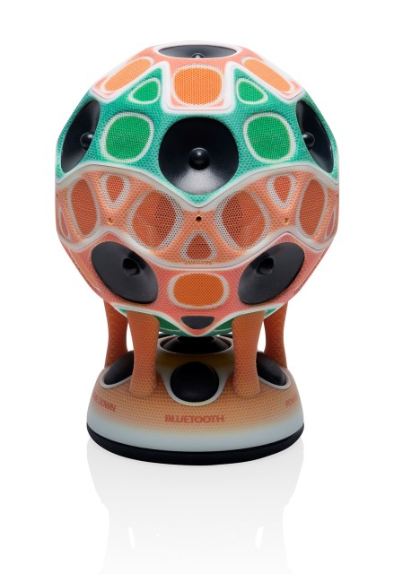 A working prototype of a stereo speaker produced on the Objet Connex3 3D printer, using Stratasys Creative Colors Software. (Image courtesy of Stratasys.)
