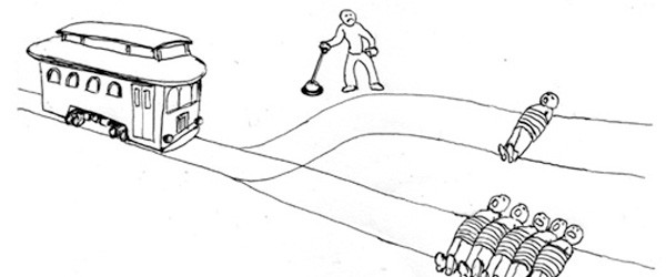 Illustration of the classic Trolley Problem. Do you pull the switch to divert the train, saving five and killing one, or do you decline to pull, not killing anyone but allowing five people to die?