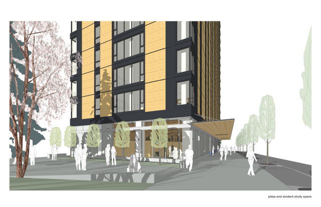 A rendering of the main plaza and student study space. (Image courtesy of Acton Ostry Architects Inc. and UBC.)