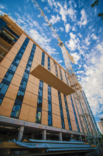 The exterior of Brock Commons, nearing the end of construction. (Image courtesy of Seagate Structures.)