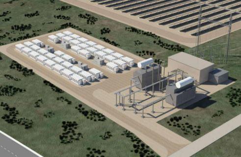 An energy storage facility based on Tesla Powerpacks. Image: Tesla Motors
