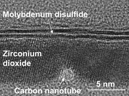 Transmission electron microscope image of a cross-section of the transistor. It shows the 1-nanometer carbon nanotube gate and the molybdenum disulfide semiconductor separated by zirconium dioxide, which is an insulator. (Image courtesy of Qingxiao Wang/UT Dallas.)