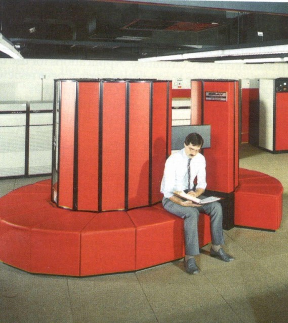 Obsolescence has always been a part of technology, as this image of an old Cray supercomputer reminds us.  In a few decades, Moore's Law has shrunk the computer hardware powering this Cray into electronic devices too small to be seen with the naked eye. Analysts may disagree on the metrics but corollaries of Moore's Law apply to software as well. (Image copyright Microsoft Corp.)