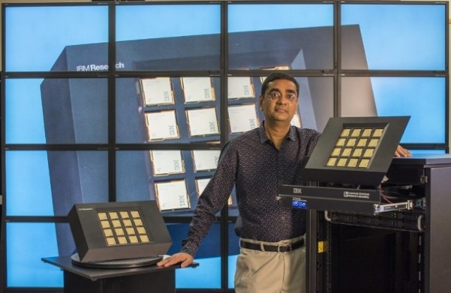 Dharmendra S. Modha, IBM Fellow and Chief Scientist, Brain-Inspired Computing of IBM Research with IBM Neuromorphic System.