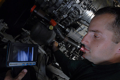 Visual inspection using a borescope. By U.S. Navy photo by Mass Communication Specialist 3rd Class Gary Prill [Public domain], via Wikimedia Commons