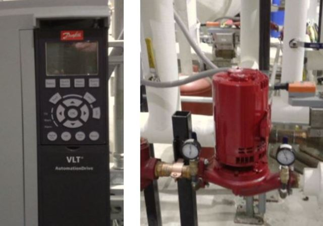 VFD Controller (Made by Danfoss in Rockford IL) and the Pump that it Controls