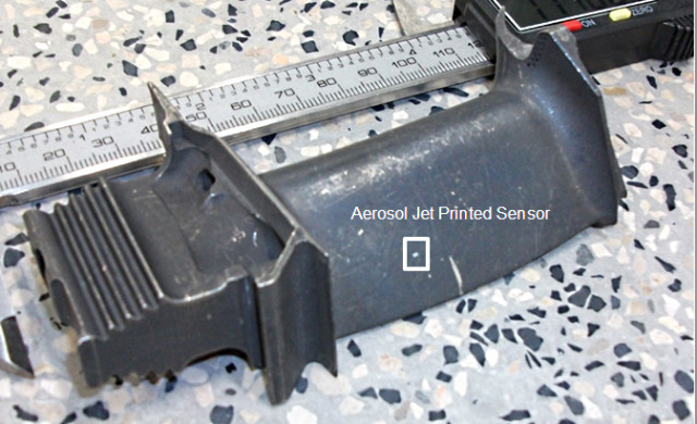 3D-printed sensor on aircraft component. (Image courtesy of the Welsh Centre for Printing and Coating.)