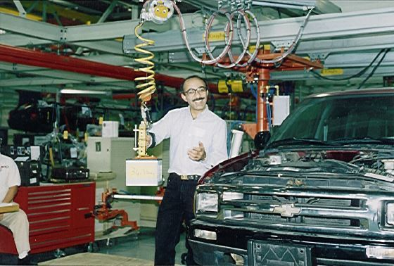 A Z-Lift Assist developed by UC, Berkely is tested at a GM plant. (Image courtesy Prasad Akella.)