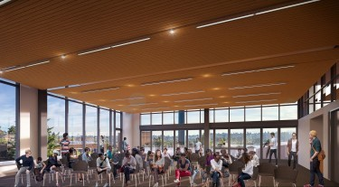 The 3,000-square-foot Zillow Commons will be a flexible events space in the new building that can host faculty meetings and departmental gatherings, workshops, conferences, research talks, industry recruiting events and other functions to benefit UW CSE, the campus and the broader community. (Image courtesy of University of Washington/LMN Architects.)