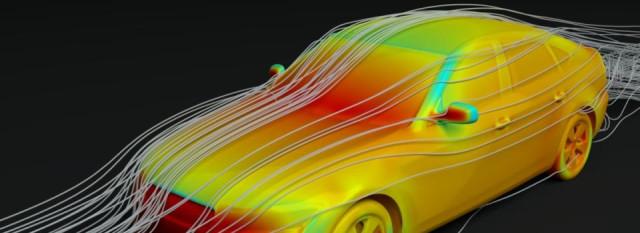 Simulation of air flow around a vehicle using aeroFluidX (image courtesy of FluiDyna)