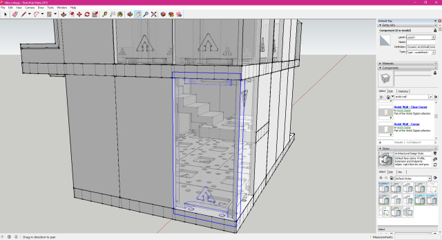 The 3D Warehouse plugin in the Components menu made it easy to download and insert Arckit components like this clear corner wall. The outline shows where the edges of the component's pegs are, requiring an overlap in the model. (Image courtesy of the author.)