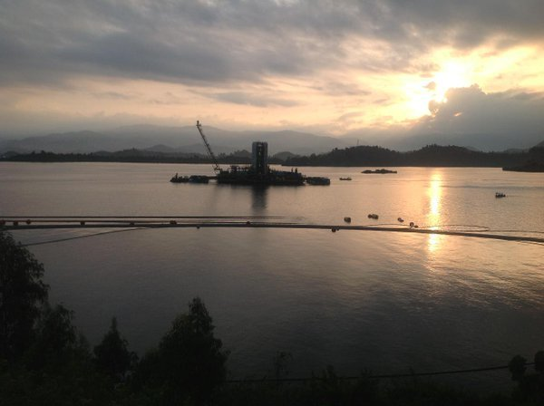 The 2,700-tonne barge operates offshore to extract methane gas. (Image courtesy of Charles Nyirahuku.)