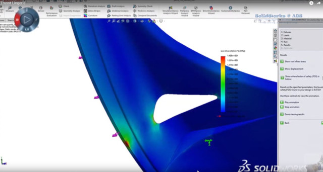 Figure 3 – Trusst support piece analyzed for stress with SOLIDWORKS Simulation. (Image from video shown at SOLIDWORKS World.)