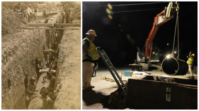 To the left is a water main being built in 1878. To the right, a water main that is even older being rehabilitated to prevent leaks, a very expensive process. (Image courtesy of Louisville Water Co.)