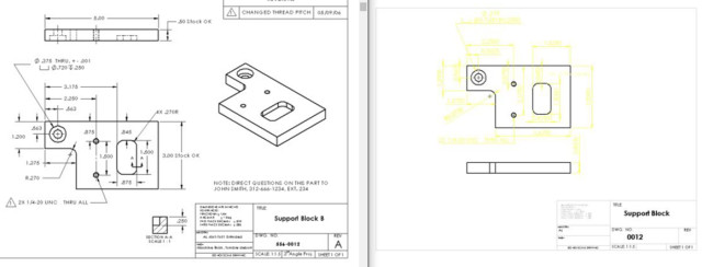 On the left, an appropriate print includes dimensions, revisions, contact information and is easy to read. On the right, an illegible print. Do not provide this quality of print to a machine shop. (Image courtesy of Joe Osborn, OMW Corporation.)