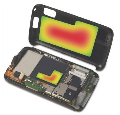 An electronic device is equipped with a flexible graphite foil to dissipate the heat and prolong the device's life span. (Image courtesy of GrafTech International.)